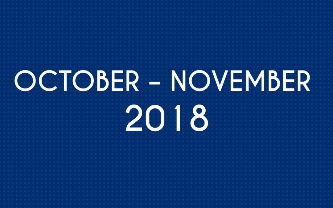 OCTOBER 2018 – NOVEMBER 2018