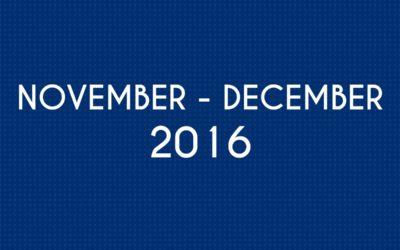 NOVEMBER 2016 – DECEMBER 2016