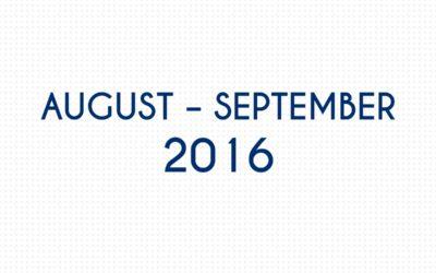 AUGUST 2016 – SEPTEMBER 2016