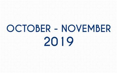 OCTOBER 2019 – NOVEMBER 2019
